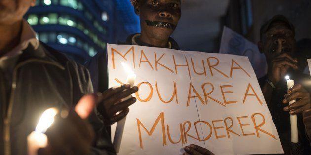 Demonstrators gathered outside Gauteng Premier David Makhura's office in February, protesting over the...