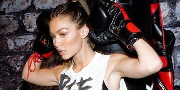 NEW YORK, NY - DECEMBER 07: Gigi Hadid leads a Self Defense Workout at Reebok And Gigi Hadid Present...