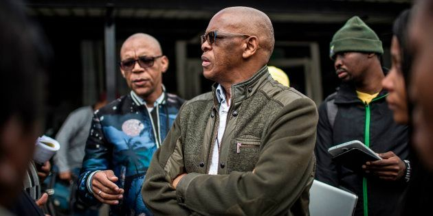 ANC secretary-general Ace Magashule speaks to the media in Johannesburg on May 19,
