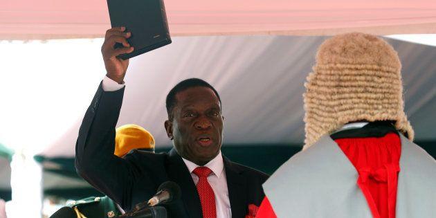 Emmerson Mnangagwa is sworn in as Zimbabwe's president in Harare, Zimbabwe, November 24,