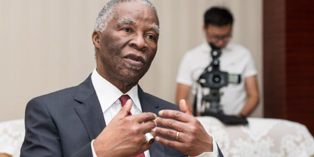 Thabo Mbeki, former President of South Africa, receives an interview during his attending 'To Discipline...