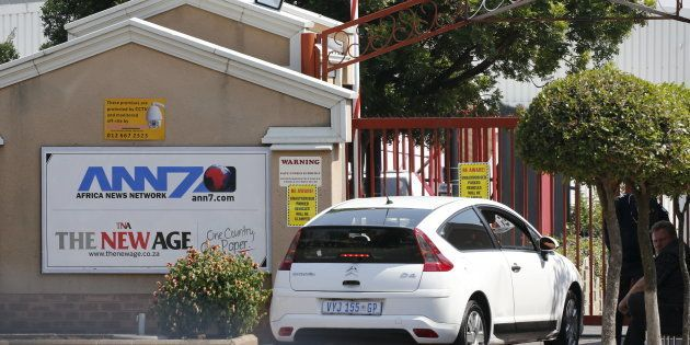 An entrance to the ANN7 Television and The New Age newspaper offices, owned by the Gupta family, is seen...