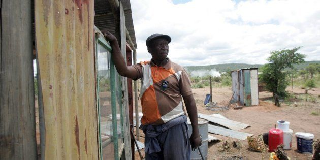Joseph Tswago builds a shack as part of the alleged Economic Freedom Fighters (EFF) land grab campaign...