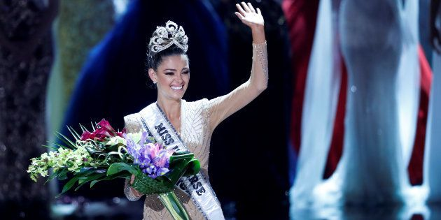 Miss South Africa Demi-Leigh Nel-Peters waves after being crowned Miss Universe during the 66th Miss...