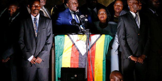 Zimbabwe President Emmerson Mnangagwa, who was sworn in to replace Robert Mugabe as president, addresses...