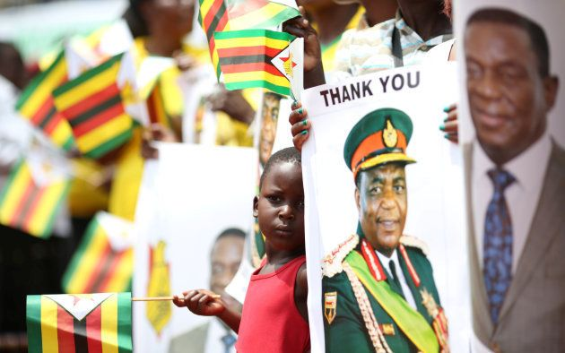 A child is seen ahead of the swearing in ceremony of Zimbabwe's new president Emmerson Mnangagwa in Harare,...
