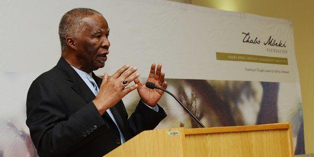 Former President Thabo Mbeki addresses University of South Africa (Unisa) students in October 2016 in...