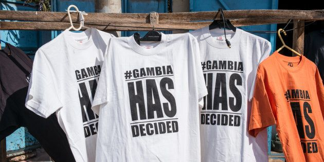 T-Shirts underlined the end of the rule of Gambian Ex-President Yahyah Jammeh, who was finally replaced...