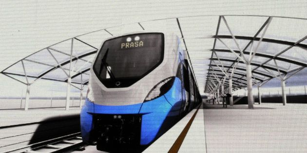 An artist impression of a commuter train built by French company Alstom for the Passenger Rail Agency...