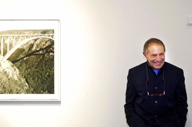 South African photographer David Goldblatt poses during an exhibition in Gothenburg, Sweden, November...