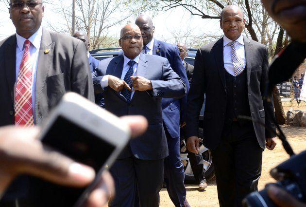 Supra Mahumapelo and Former President Jacob Zuma during the unveiling of a monument dedicated to Zuma...