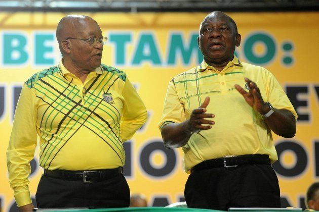 Former President Jacob Zuma and President Cyril Ramaphosa during Zumas final speech at the partys 54th...