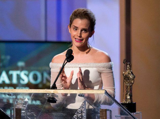 Actress Emma Watson accepts the Britannia Award for British Artist of the Year at the BAFTA Los Angeles...