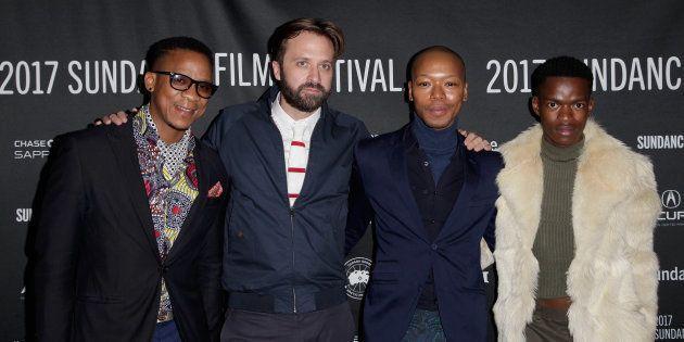 (L-R) Actor Bongile Mantsai, director John Trengrove, and actors Nakhane and Niza Jay Ncoyini attend...