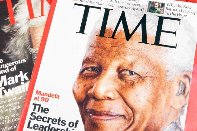 Time magazines displayed with the portrait of Nelson Mandela on the cover