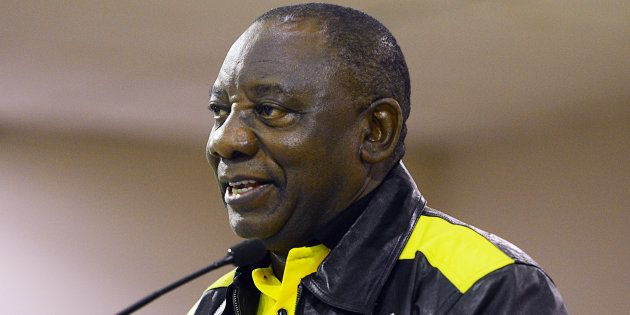 Then-deputy president Cyril Ramaphosa addresses the audience during his visit in Ivory Park on May 05...