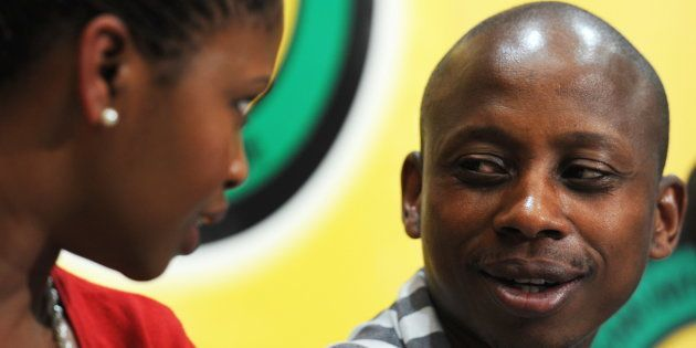 Khusela Sangoni speaks with Andile Lungisa at Luthuli House in Johannesburg, in May