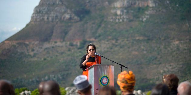 The mayor of Cape Town, Patricia de Lille speaks during a call to religous leaders to come together to...