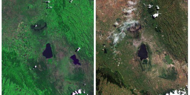 Lake Nakuru National Park, seen in a combination of NASA satellite images taken September 9, 1972 (L)...