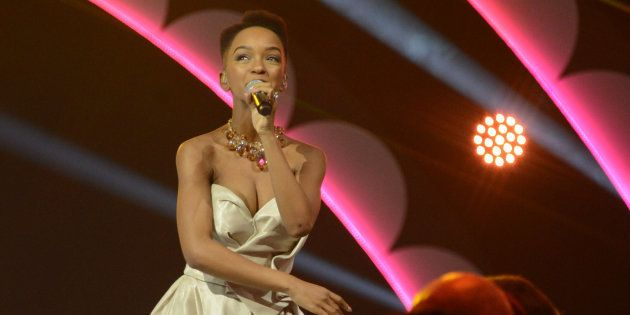 Nandi Madida during the crowning of Miss SA 2017 at the Sun City Superbowl on March