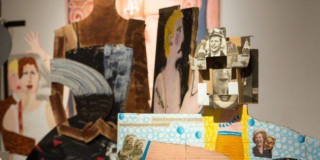 Detail of artwork by Lubaina Himid entitled 'A Fashionable Marriage', which features images of former...
