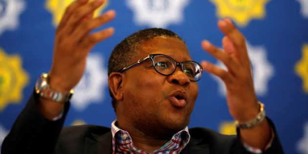 Police Minister Fikile Mbalula at a media briefing in Johanneburg on September 26, 2017.REUTERS/Siphiwe