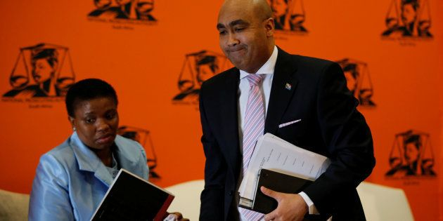 National Director of Public Prosecutions Shaun Abrahams (R) and his deputy, Nomgcobo