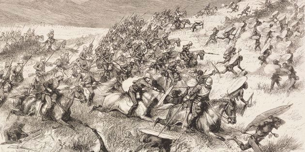 Charge of the 17th Lancers at the battle of Ulundi, Anglo-Zulu War, illustration from the magazine The...