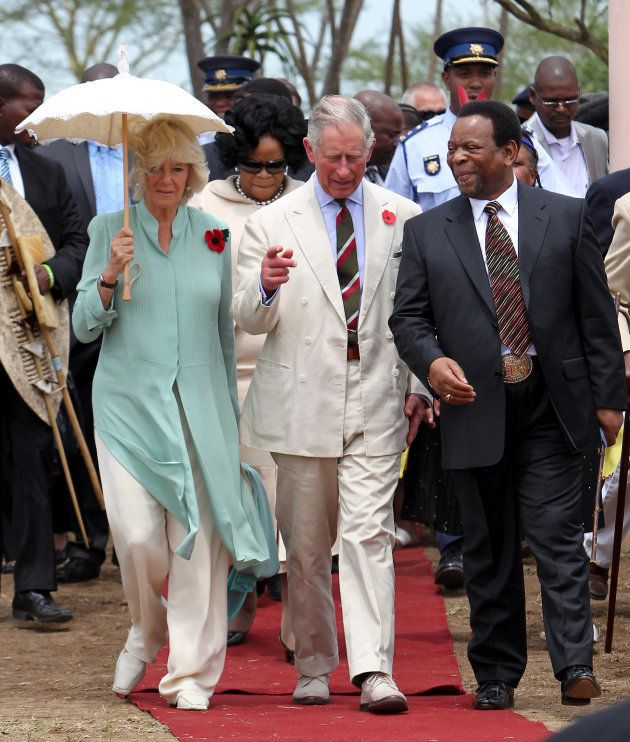 The Prince of Wales and the Duchess of Cornwall accompanied by King Goodwill Zwelethini walk through...