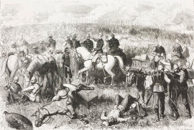 English infantry square at the Battle of Ulundi, July 4 1879, which ended the Anglo-Zulu War. Engraving...