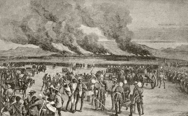 The burning of the Zulu royal kraal at Ulundi after the battle of Ulundi. From Afrika, dets Opdagelse,...
