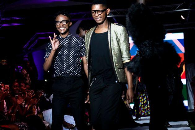 DAKAR, SENEGAL - JUNE 23: Quiteria & George greet the crowd after their show at the 16th Dakar Fashion...