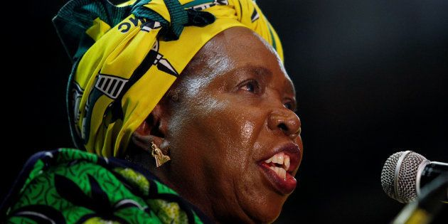 Former African Union chairperson Nkosazana Dlamini-Zuma speaks during a lecture to members of the African...