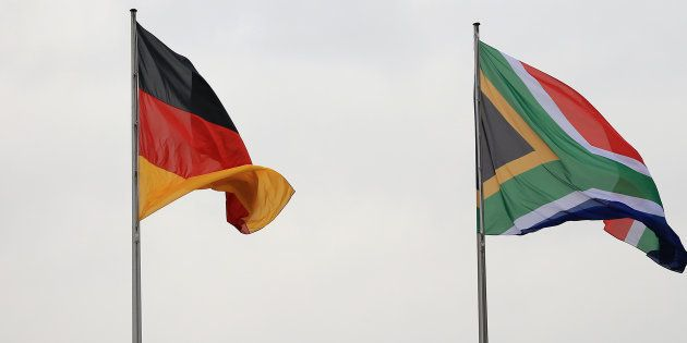 The national flags of Germany (left) and South