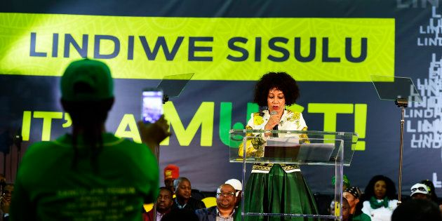 ANC presidential candidate Lindiwe Sisulu addresses the audience during a Nelson Mandela lecture in Kliptown,...