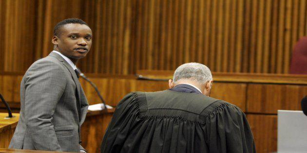 Duduzane Zuma with his lawyer Gary Mazaham at the Randburg Margistrate Court on November 4, 2014 in Johannesburg,...