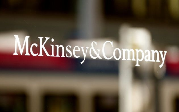 The logo of consulting firm McKinsey + Company is seen at an office building in Zurich, Switzerland September...