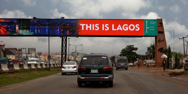 A billboard across the Lagos-Ibadan expressway at Ojodu district in Nigeria's commercial capital Lagos...
