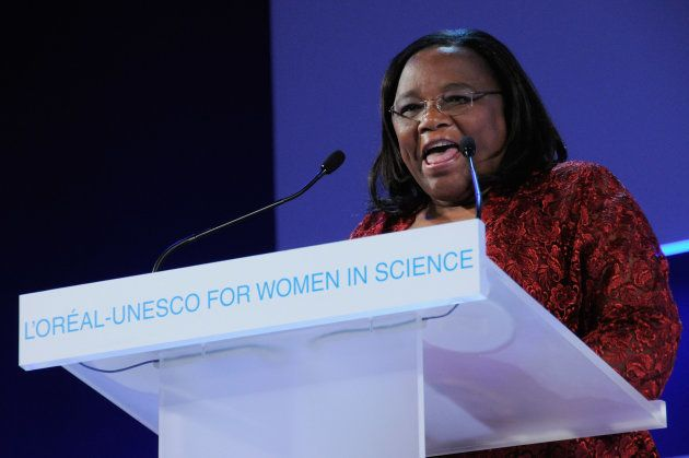 Professor Tebello Nyokong from Africa gives a speech as she receives the UNESCO and L'Oreal Award for...