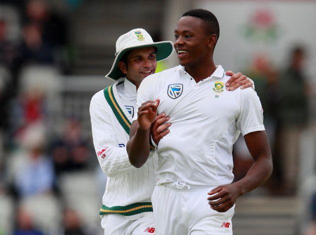 South Africa's Kagiso Rabada celebrates taking the wicket of England's Keaton