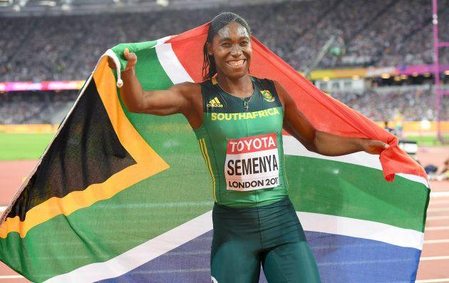 Caster Semenya of South Africa celebrates winning gold in the Women's 800 Metres final during day ten...