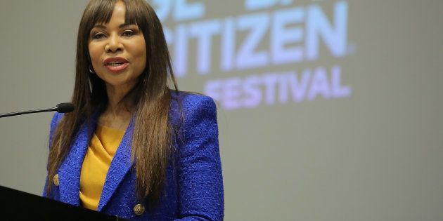 Dr Precious Motsepe of the Motsepe Foundation at the press conference for the Global Citizen Festival:...
