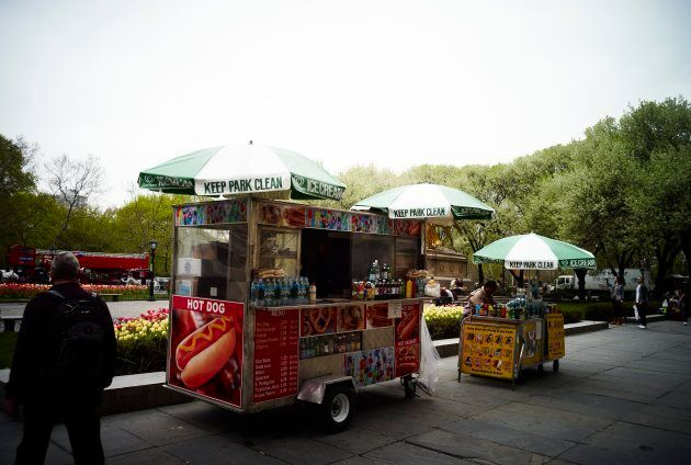Hot dog stand in New York