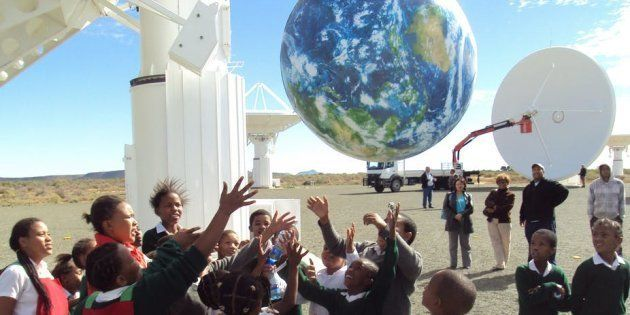 School children at the site of the KAT-7 radio telescope in Carnarvon, South
