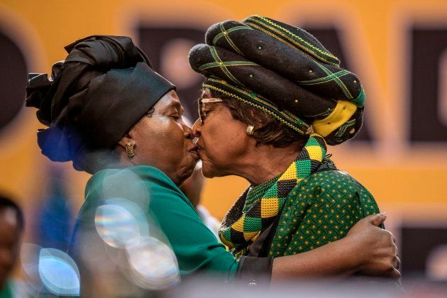 Winnie Madikizela-Mandela and Dlamini-Zuma greet each other as they attend the 54th ANC National Conference...