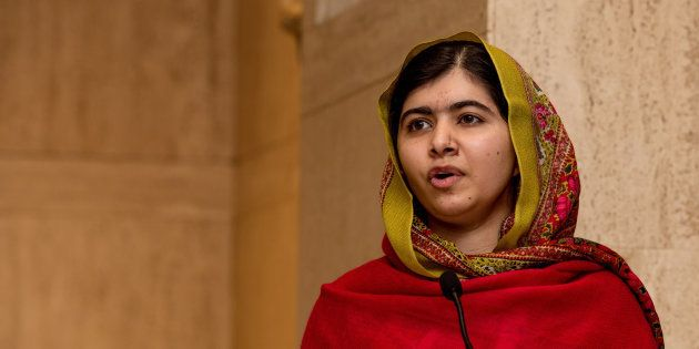 Malala Yousafzai gives a speech in 2015 in Birmingham,