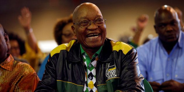 South African President Jacob Zuma reacts during the closing address at the 54th National Conference...