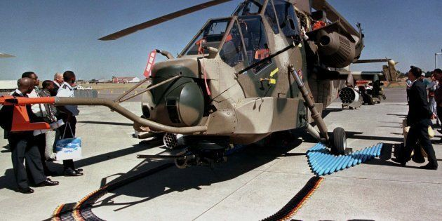 South Africa's Rooivalk (Red Falcon) attack helicopter at the Aerospace Africa exhibition in Pretoria,...