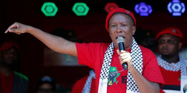 EFF leader Julius Malema addresses his supporters outside the Israeli embassy in Pretoria; November 2,