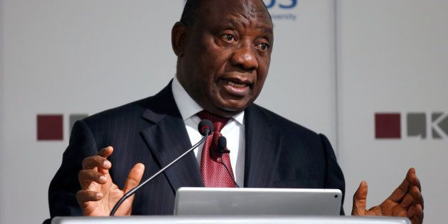 South African Deputy President Cyril Ramaphosa speaks during a lecture at the Lee Kuan Yew School of...